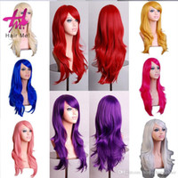 Wholesale Hot Pink Long Wigs - Hot Sales Colorful Women Long Straight Wigs Heat Resistant Full Hair Fashion Synthetic Wigs 28Inch High Quality Free Shipping