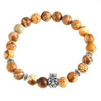 Wholesale Crown Picture - European and American wind the crown lion bracelet hand string of natural stone picture hot style bracelet beads