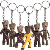 Wholesale Galaxy Keychain - Guardians of the Galaxy 2 Baby Groot PVC Figures with Keychain Pendants Collectible Model Toys 6pcs set 7cm