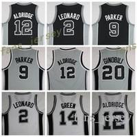 Wholesale Lamarcus Aldridge Jersey - Hot Sale 12 LaMarcus Aldridge Uniforms 20 Manu Ginobili 2 Kawhi Leonard Jersey Shirt 9 Tony Parker Fashion Team Color Black Gray White