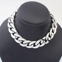 Wholesale collar necklace free shipping - Silver Gold Plated CCB Chain choker Necklace Collar Hip Hop Statement Jewelry for Women
