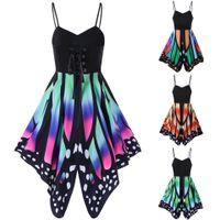 Wholesale Womens Xxl Clothing - 2017 Summer New Fashion Clothing Womens Butterfly Dress with Spaghetti Lace Up Sleeveless Dresses Female Empirewaist Dress S-XXL ZL3243