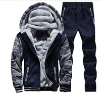Wholesale Color Tracksuit - winter men sweat suits fleece warm mens tracksuit set casual jogging suits sports suits cool jacket pants and sweatshirt set free shipping
