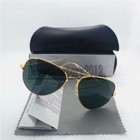 2162dbcee Cool homens mulheres óculos de sol 100% lente de vidro óculos de sol  armação de metal de alta qualidade piloto do vintage dois tamanho espelho  proteger com ...