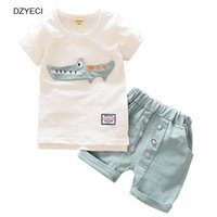 Wholesale crocodile children - Fashion Baby Boy Crocodile Set Clothes Summer Children Cartoon Animals Top T Shirt+Shorts Pant 2PCS Outfits Kid Boutique Costume