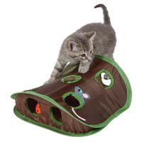 Wholesale Hidden Mouse - Pop Open Mouse Hunt Cat Toy Pet Hide Seek Funny Collapsible Puzzle Exercise 9 Holes Mouse Hunt with Bell ball A239