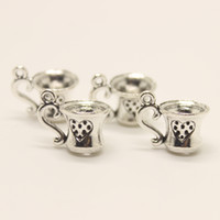 Wholesale Antique Cup Plate - 24pcs-- 17x10mm Antique silver tone 17*10mm Tea Cup charm pendant Fit Bracelets Necklace DIY Metal Jewelry Making