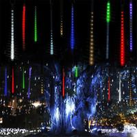 cuerdas de lluvia de meteoros al por mayor-Multicolor 30 cm 50 cm Lluvia de meteoros Tubos de lluvia Luces de Navidad LED Fiesta de bodas Luz de jardín Luz de Navidad Cadena de luces al aire libre