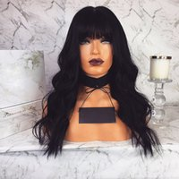 Wholesale black wavy wig bangs for sale - Group buy Full Lace Human Hair Wig With Bangs Wavy Pre plucked Hairline Lace Wig Body Wave Brazilian Virgin Hair Density Lace Front Wig