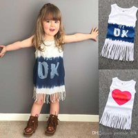 Wholesale little baby love - KS17 New Arrivals INS Baby GIRL Love Heart Tassel dress little princess sexy sleeveless round collar INS dress Girl's Casual Dresses