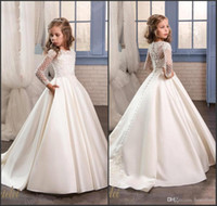 Wholesale Satin Wedding Dresses Long Sleeves - Princess White Lace Flower Girl Dresses 2017 New Sheer Long Sleeves First Communion Birthday Party Dresses Girls Pageant Dress For Weddings