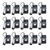 Wholesale 15pcs DSP Radio Portable FM Radio Receiver Pocket Radio for Large meeting with Earphone Best Y4305
