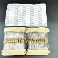 kit de resistencias de película de carbono al por mayor-Al por mayor-Libre envío 500pcs 1 / 4w 0.25w 5% Carbon Film Resistor Kit 50 Valores Surtido Pack Mix Selección (1R ~ 10M ohmios)