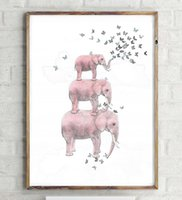 Wholesale Picture Sketches - Elephant with Butterfly Sketch Canvas Art Print Painting Poster, Wall Pictures for Home Decoration, Home Decor