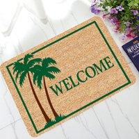 gummiboden grün großhandel-Persönlichkeit Design Fußmatten Willkommen Fußmatten Hola Go Away Wischen Sie Ihre Pfote Muster Fußmatte Fußmatten Teppich Anti-Rutsch-Bereich Gummiteppiche