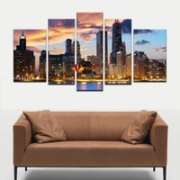 Wholesale Large Fashion Painting - Free Shipping 5 Piece The City Night View Modern Home Wall Decor Canvas Picture Canvas Print Large Wall Pictures For Living Room