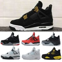 Wholesale free online shipping - Free Shipping shoes 4s cheap Royalty basketball shoes Fear Cement Oreo Black Cat Sneaker Sport Shoe,For Online Sale size 8-13