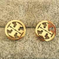 Wholesale Earring Men - 2017 top Quality Famous Brand Jewelry Fashion Stainless Steel Style Luxury Gold Plated Earrings Stud For Men Women