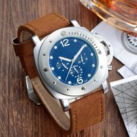 Wholesale Mens Gold Leather Watch - Luxury Brand pam Silver Black Leather Sports Men Watches Watch automatic mechanical Clock Sport Mens WristWatch Relogio automatic