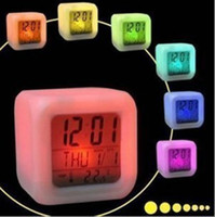 Wholesale Table Clock Calendar Light - LED Clock Mood Alarm Creative Colors Changing Colorful Glowing Table Clocks The Second Generation Night Lighting Factory Direct 7 3cr R