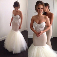 Wholesale Robe Casamento - Latest Sweetheart Neck Mermaid Wedding Dresses Appliques Lace up Tulle Bridal Wedding Gowns Vestido De Casamento Robe De Mariee