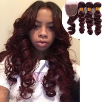 Wholesale Hair Ringlets - lace frontal with bundles burgundy loose ringlet fabric hair extension dark wine red Brazilian human real hair curly bundles with closure