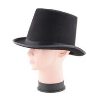 Wholesale Halloween Magician Hat - New Novelty Fashion Women Men Hat Halloween Magician Magic Hat Jazz Hat Black Freeshipping YH179