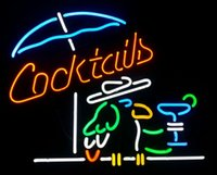 Wholesale Neon Cocktail Glass - Cocktails Parrot Real Glass Neon Sign Beer Bar