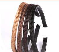 Wholesale Brown Plaited Hair - 1cm wide Vintage Twisted Headband girl Bands Plaited Braided Hair Accessories hairpiece For Women Wedding accessories