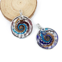 Wholesale Metal Flower Necklace Wholesale - Statement New Design Swirl Lampwork Glass Pendant With Metal Edge made by hand ,12pcs box, MC0004