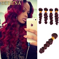 Wholesale Virgin Ombre Hair For Weave - Brazilian Loose Wave Virgin Hair Burgundy Ombre Brazilian Hair Colorful Tone Loose Wave Weave Cheap Hair Bundles 4 Pc Lot For Sale
