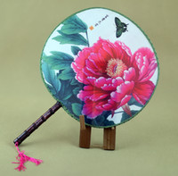 Wholesale Round Fan - Large Flower Chinese Silk Round Fan Wedding Party Favor Bride Crafts Gift Adult Women Palace Wooden Handle Hand Fans Ethnic Dance Show Props