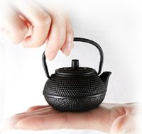 Wholesale Play Spots - Wholesale- free shipping Japanese style mini play decoration black color spot cast iron teapot 50ml small iron teapot