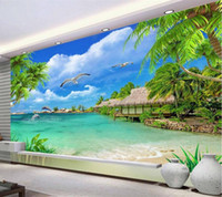 Wholesale Cloud Tv - Maldives blue sky and white clouds sea frescoes 3d 3d large wallpapers TV sofa background wallpaper