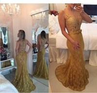 Wholesale Summer Gowns For Women - 2017 Gold Lace Prom Dresses Mermaid Sexy Illusion Evening Gowns New Special Occasion Dress For Women Custom Made
