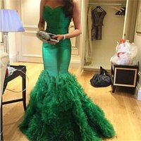Wholesale Emerald Skirt - Luxury Emerald Green Mermaid Prom Dress Long Formal Sweetheart Sleeveless Ruched Ruffles Skirt Evening Party Gowns Custom Made Sweep Train