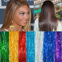 """Wholesale Hair Extension Streaks - 40"""" HAIR Tinsel Bling EXTENSIONS Sparkly Highlights Streak Night Out Party Celeb"""
