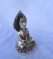 Wholesale Buddha Brass Statue - christmas decorations for home+ Collectible Tibetan silver Buddha sitting on a lotus statue Guan yin Sculpture