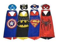 Wholesale Satin Capes Wholesale - DHL Free Shipping 70x70CM 50pcs Kids Superhero Capes Double Sides Satin Fabric Superhero Cape+Mask for Kids Birthday Party Supplies Gifts