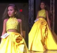vestido amarelo vestidos juniors venda por atacado-Duas Peças Meninas Pageant Vestidos Halter Pescoço Lantejoulas Colheita Cetim Saia De Cetim Amarelo Crianças Júnior Vestidos de Baile com Apliques 3D-Floral