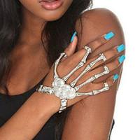 Wholesale Gold Slave Bracelets - Wholesale- Women's Fashion Creative Hand Chain Skull Fingers Skeleton Slave Bracelet