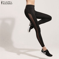 Großhandel- ZANZEA Frauen Leggings 2017 Sommer Mesh Patchwork Schwarz High Taille Workout Hosen Slim Casual Fitness Leggings Hose Plus Size