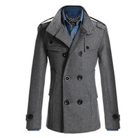 плюс длинные траншеи оптовых-Wholesale- Trench Coat Men Classic Men's Double Breasted Masculino Trench Clothes Long Jackets Coats British Style Overcoat 3XL Plus Size 2