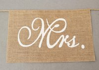 Wholesale rustic chairs resale online - New Khaki Mr Mrs Burlap Chair Banner Set Chair Sign Garland Rustic Wedding Party Decoration