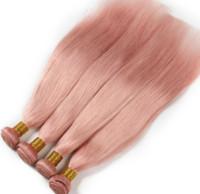 kraliçe insan saçı uzantıları toptan satış-Kraliçe Saç Örgü Demetleri Saç Uzantıları Katı Pembe Ombre Brezilyalı Düz kırmızı ombre renk İnsan Saç