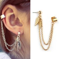 Wholesale Dangles Charms Clips - New Arrival Jewelry Punk Leaf Tassels Earrings Long Dangle Ear Clip Silver Gold Sliver Charm Stud Earrings For Women Gifts