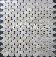 mosaico de conchas de forma oval azulejo blanco de la cscara de la alta calidad lustre natural madre de la baldosa de la de la teja de la