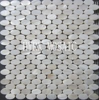 Wholesale Oval shaped shell mosaic High Quality white shell tile natural luster mother of pearl tile backsplash shell tiles kitchen tiles
