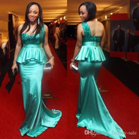 Wholesale Turquoise One Shoulder Prom Dresses - 2017 Cheap Evening Gowns Sexy Backless One Shoulder Turquoise Sequins Beading Robe De Soiree Long African Formal Party Gowns Prom Dresses
