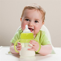 Atacado-150ml Cute Baby Feeding Bottles Cup Kids Straw Cup Beber Garrafa Sippy Copos Com Alças Alimentando Drinking Train Cup HO872707
